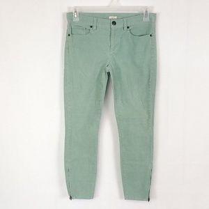 J Crew Green Skinny Ankle Zip Corduroy Pants S26C
